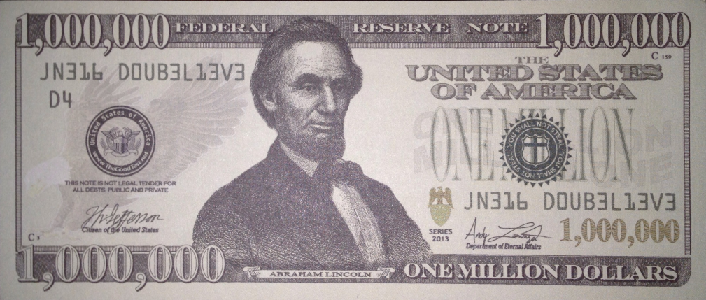 Million Dollar Bill Lincoln Kingdom Christian